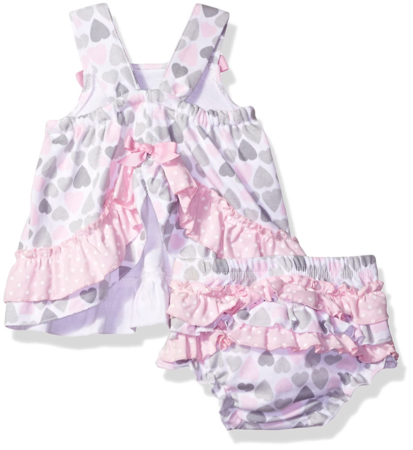 Baby Essentials Baby Girls 2 Piece Dress and Diaper Cover Set Hearts and Polka Dot