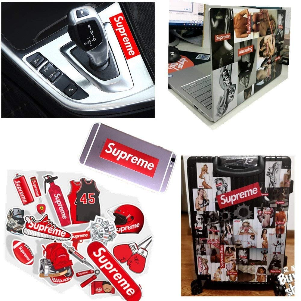 Supreme Stickers 100 Pieces Pack Waterproof and Oil Proof OEM Style for Decoration of Smart Phone, Laptop, Backpack Skateboarding, Cars, Laggages etc (Red, 100 pieces) by  (Image #3)
