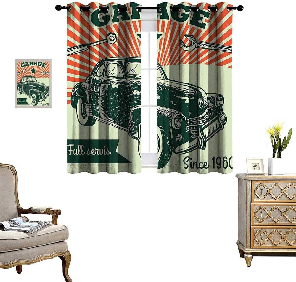Fenggruihome Cortina Opaca para Puerta corredera de Patio para salón/Dormitorio, Coche, Garaje, anuncios, póster con Efectos SED 1960S 55