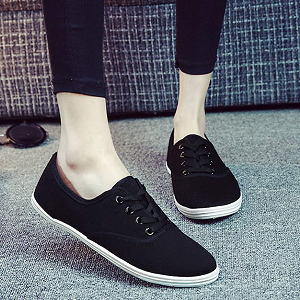 various styles 50% off wholesale price Womens Canvas Flat Slip On Ballet Canvas Trainers Fashion Casual ...