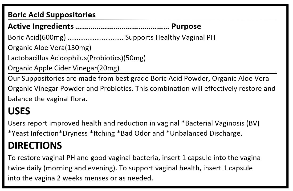 Boric Acid Vaginal Suppositories | 60 Counts | with Aloe Vera, Apple Cider Vinegar and Probiotics | Applicator Included | No Fillers or Artificial Ingredients - Made in USA | BoricVag Plus (60) by Reel Organics