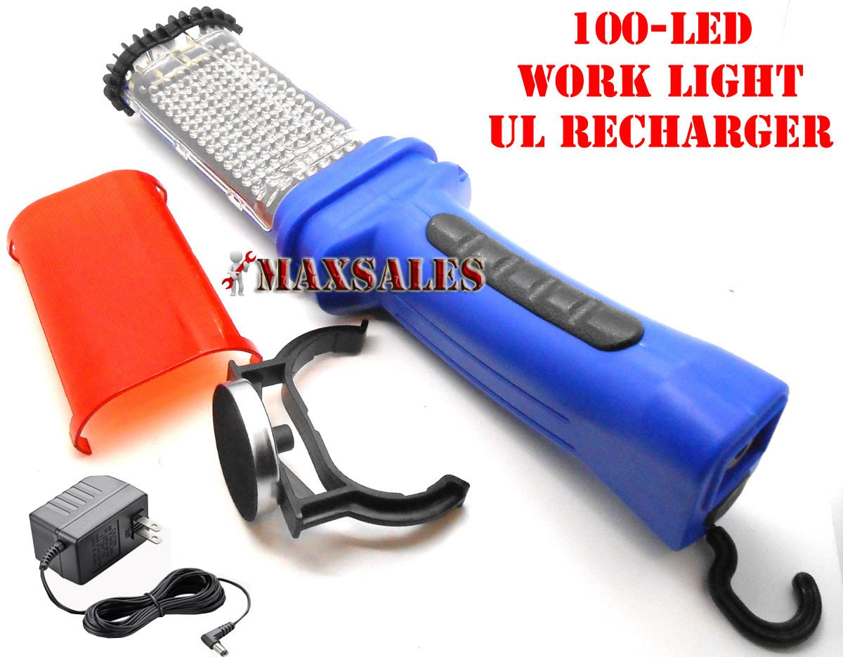 LED RECHARGEABLE CORDLESS TROUBLE MECHANIC WORK LIGHT LAMP 100PCS BRIGHT