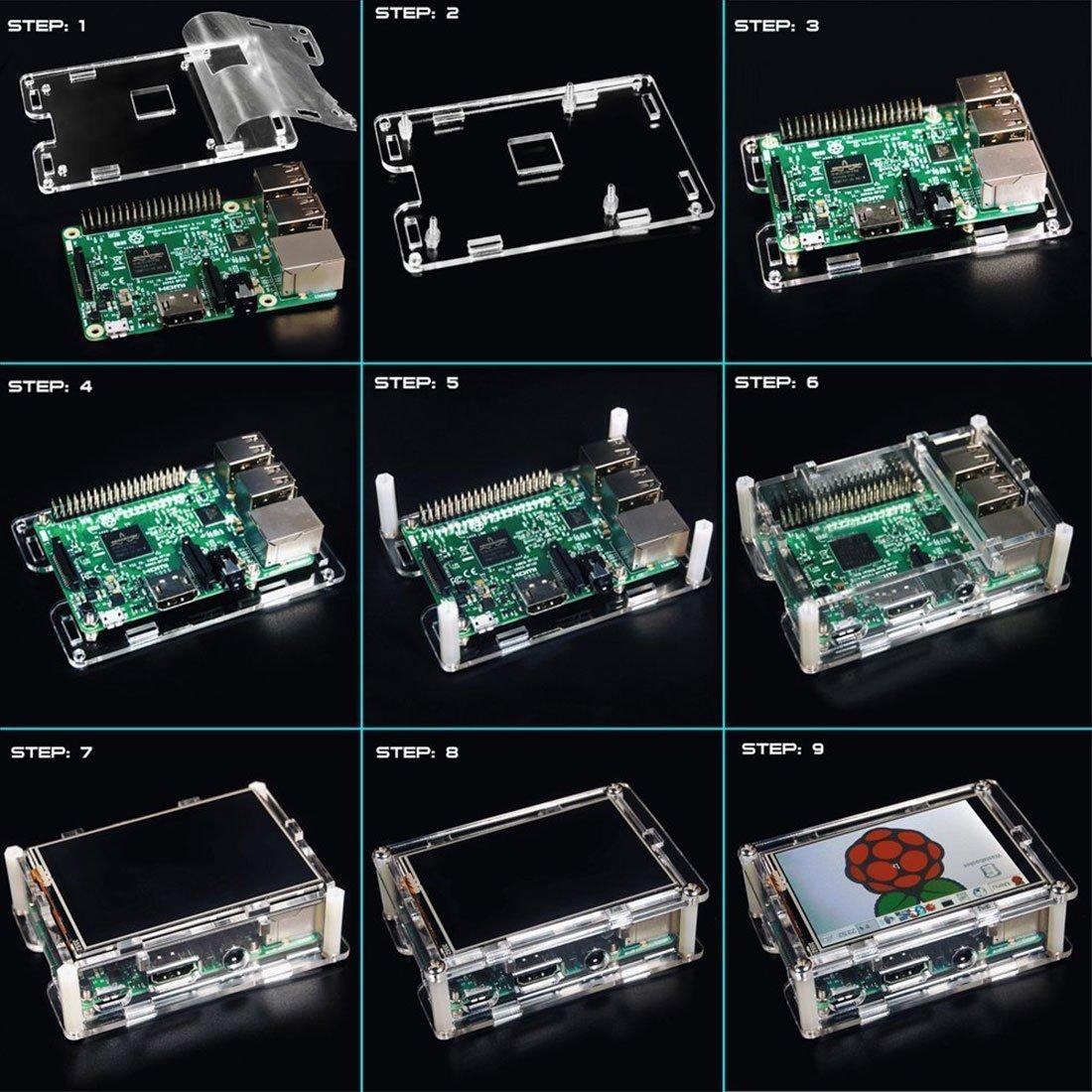 Dorhea Raspberry Pi 3 Model B TFT LCD Display Kit,3.5 inch 480x320 TFT Touch Screen Moudle with Protective Case Cooling Fan and Heatsinks for Raspberry Pi 3 B+,Pi 3 B, Pi 2, Pi Zero, Pi B+ by Dorhea (Image #7)