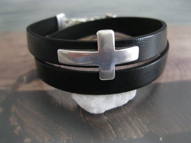 83f7961f0cfa Handmade, Echt Leder Wickel Armband Schwarz- Kreuz Groß  Amazon.de ...
