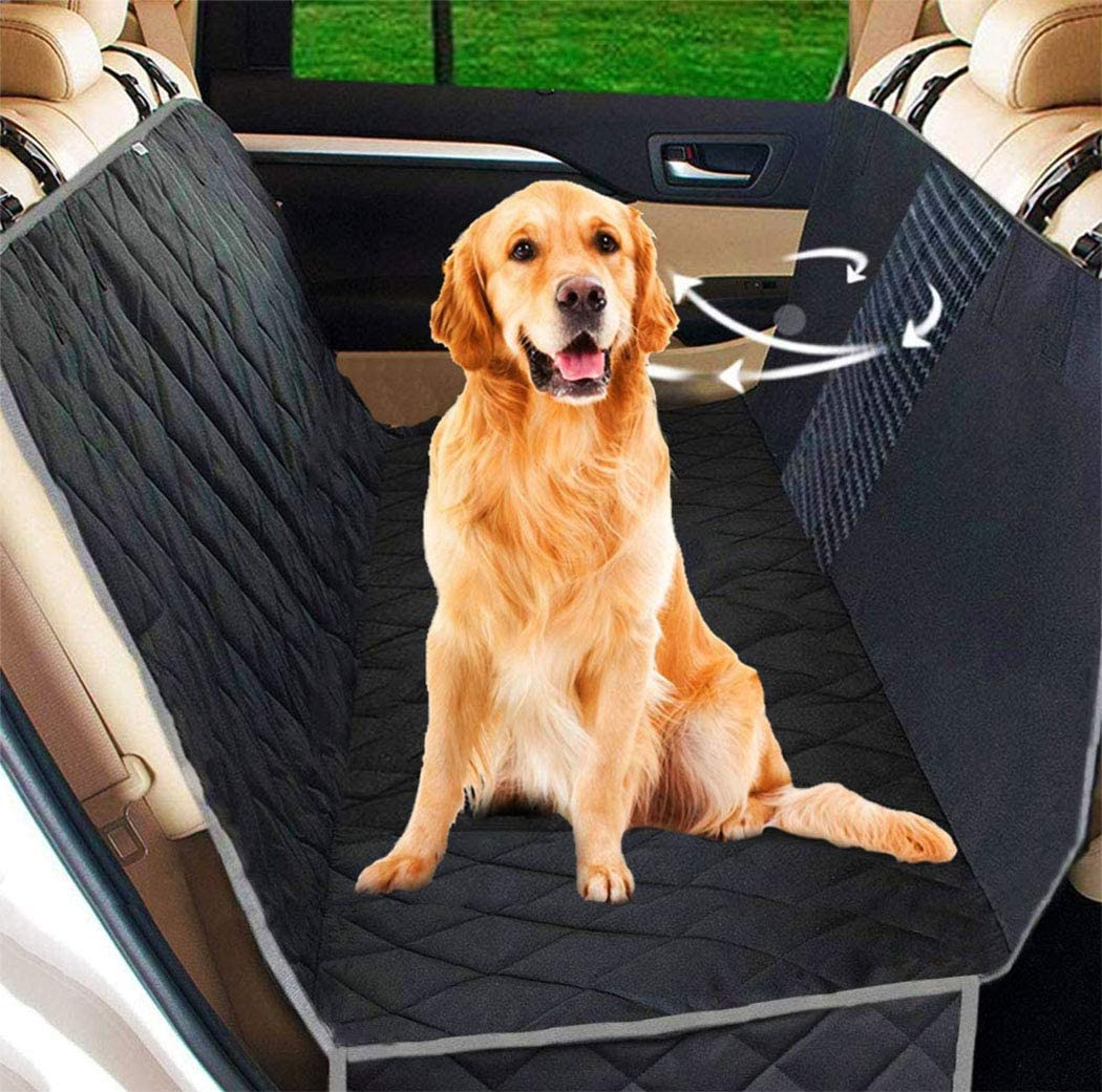 UPODA Dog Seat Covers with Mesh Visual Window, Waterproof Nonslip Pet Seat Cover with 2 Dog Seat Belts Storage Pockets for Cars Trucks SUVs