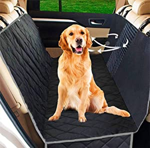 UPODA Dog Seat Covers with Mesh Visual Window, Waterproof Nonslip Pet Seat Cover with 2 Dog Seat Belts & Storage Pockets for Cars Trucks SUVs