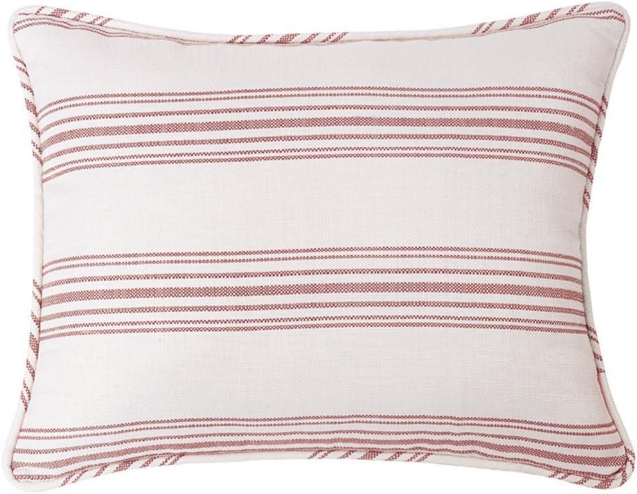 HiEnd Accents Prescott Striped Cottage-Style Pillow Sham, Queen, Red