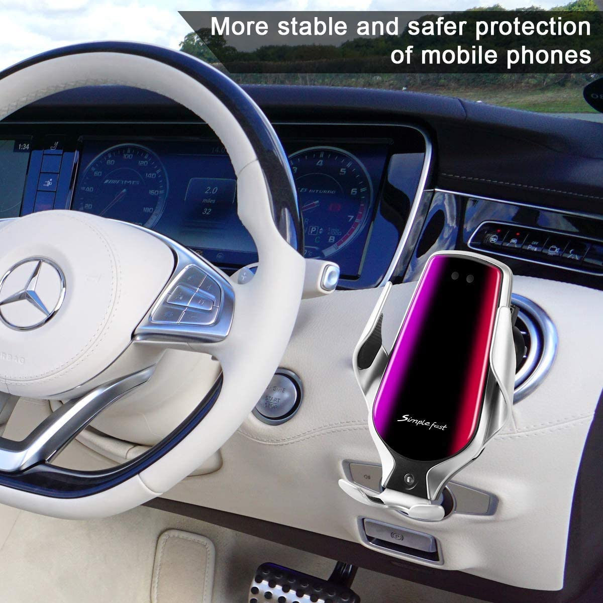 R3 Silver Cell Phone Holder for Car,Qi Wireless Charging Suitable for Galaxy S10+//S10//S10e//S9+//S9//S8//note8//phone 11pro//xs//xr//xs Max//etc GPS Navigation Bracket,Installation of air Outlet