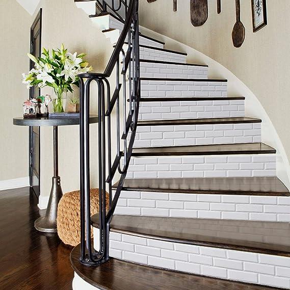 Patrón 3D ladrillo blanco del peldaño etiquetas desprendibles de la pared del PVC de los murales de vinilo Escaleras de la etiqueta autoadhesiva de bricolaje Home Decor 39.3