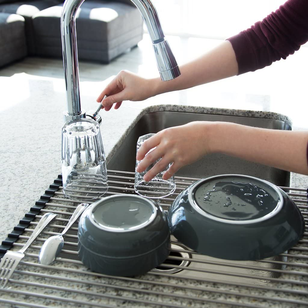 Stainless Steel Over The Sink Roll Up Dish Drying Rack