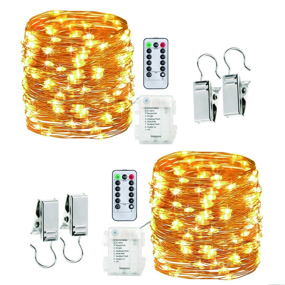 LED String Light Remote Control 33ft 100 LEDs Pack of 2, Gimvavo Waterproof Fairy Lights Battery Powered 8 Modes Starry Lights on Flexible Copper Wire for Bedroom Wedding Festival Decor -Warm White.