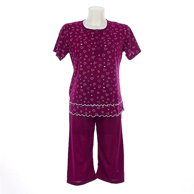 b964dd9bb6d1 Pigiama donna estate in cotone manica corta pantalone pinocchietto (S,  Amaranto)