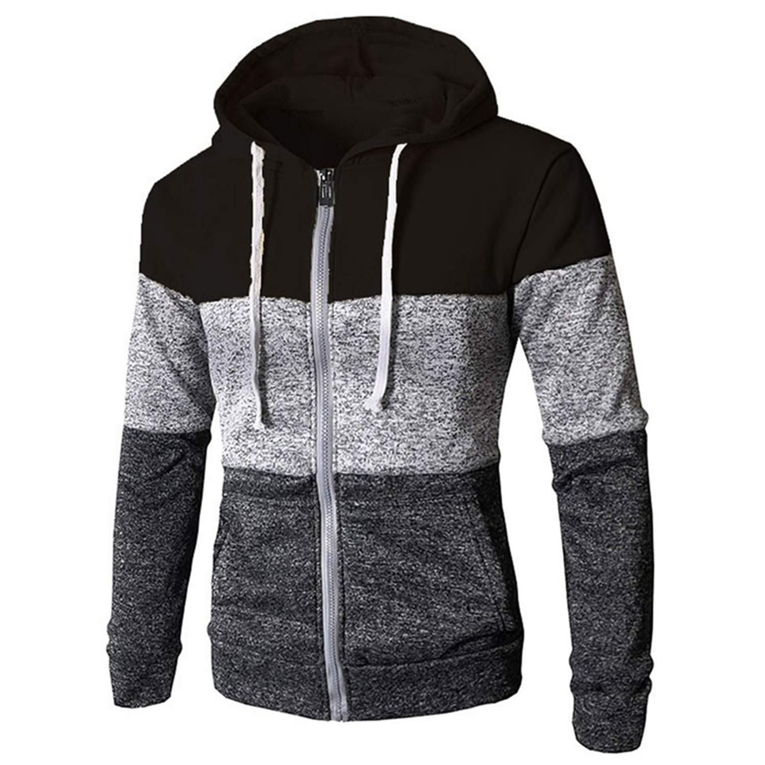 Fashion Hoodies Stitching Sweater Men Hooded Winter Solid Thicken Ouear Sweater Coat Casual Cardigans