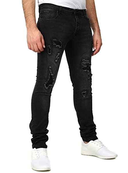 Free Side Hombres Jeans MADRID Delgado Fit destruido Vintage Busque fácilmente Endeble Negro W38