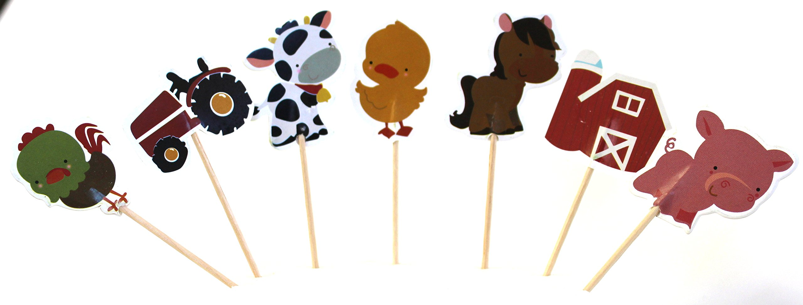 24pc - Farm Animal Barn Yard Cupcake Toppers for Children Birthday Party Decoration