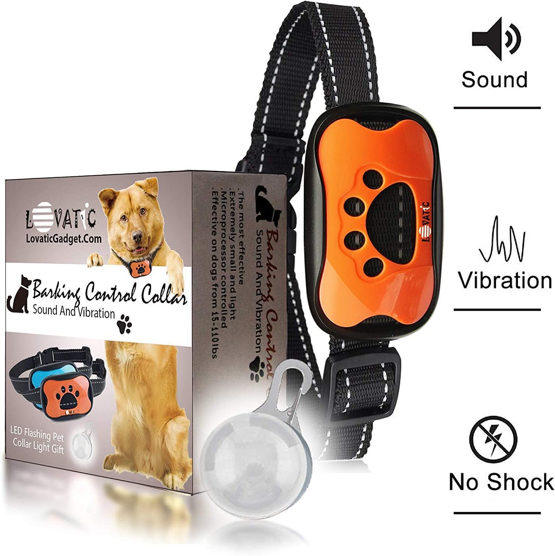 Dog Bark Collar – No Shock Vibration Sound Humane Training Device for Small Medium Large Dogs – 7 Levels Sensitivity Adjustment – Best No Bark Control Collar