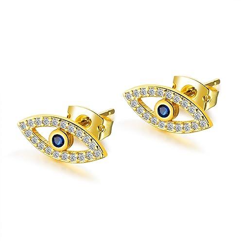 online in vendita vende le migliori scarpe Epinki placcato oro blu zirconi a forma di occhio orecchini per le ...