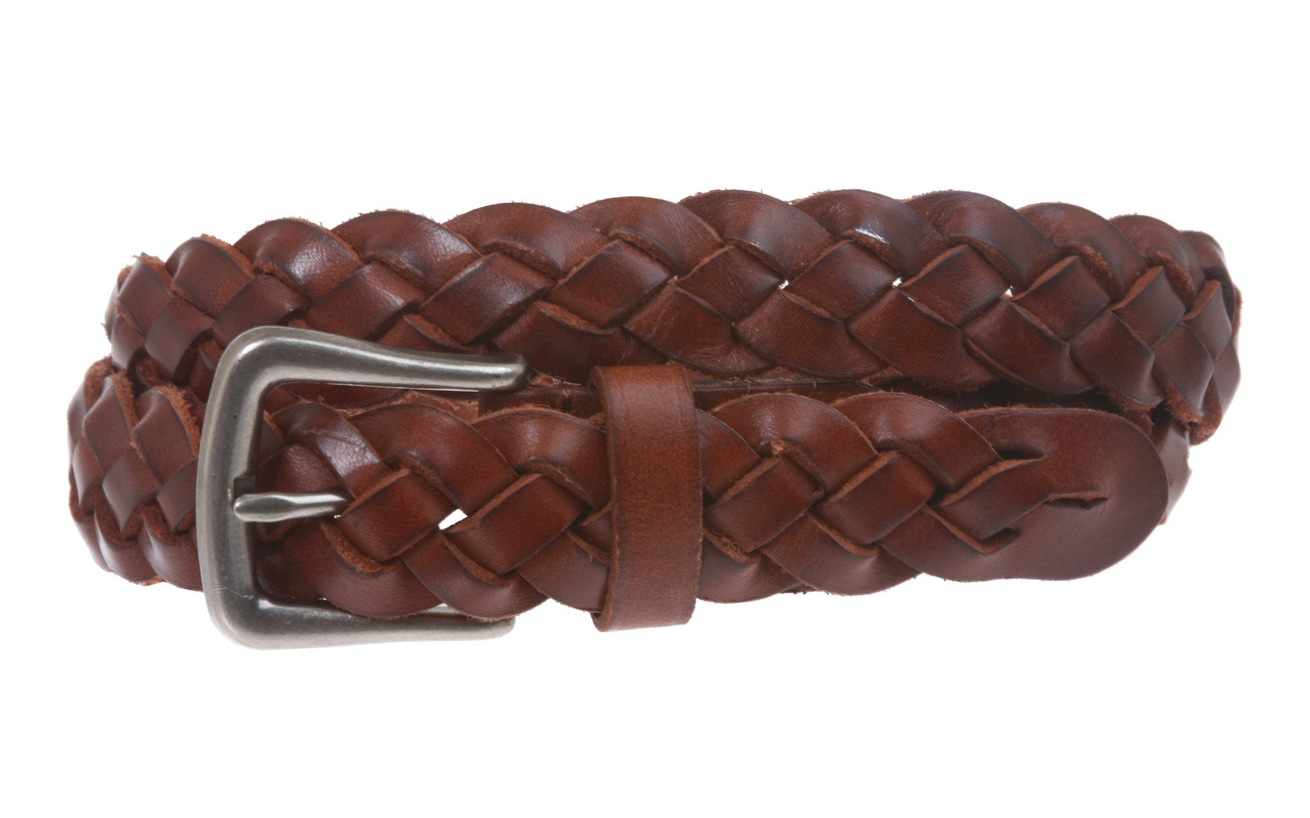 Women's 1 1/8'' Braided Woven Skinny Narrow Leather Belt, Brown | M/L - 36''
