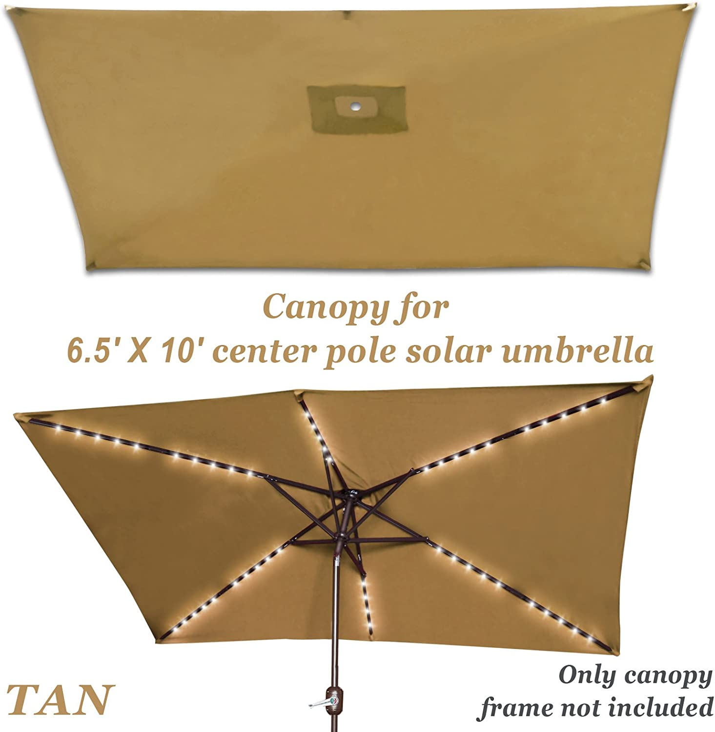 Strong Camel Replacement Umbrella Canopy for 10ft x 6.5 ft 6 ribs Patio Umbrella Top Cover Outdoor Market Canopy Only Tan