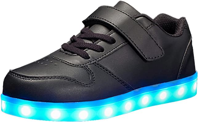 8, Black Kids Shoes 2017 With Light Boys Girls Sports Shoes LED Lighted Flash Male Female Sneakers Baby Fashion Sneakers Shining Boots