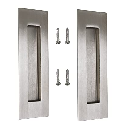 Gobrico Satin Nickel Rectangular 150mm/6in Flush Sliding Door Pull Handle  Insert Knob, 304