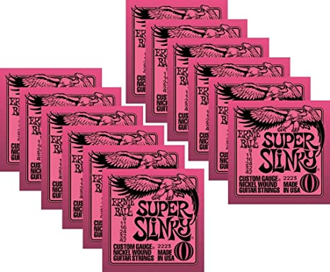 Ernie Ball Super Slinky cuerdas para guitarra eléctrica, Níquel Herida, Lot/12,