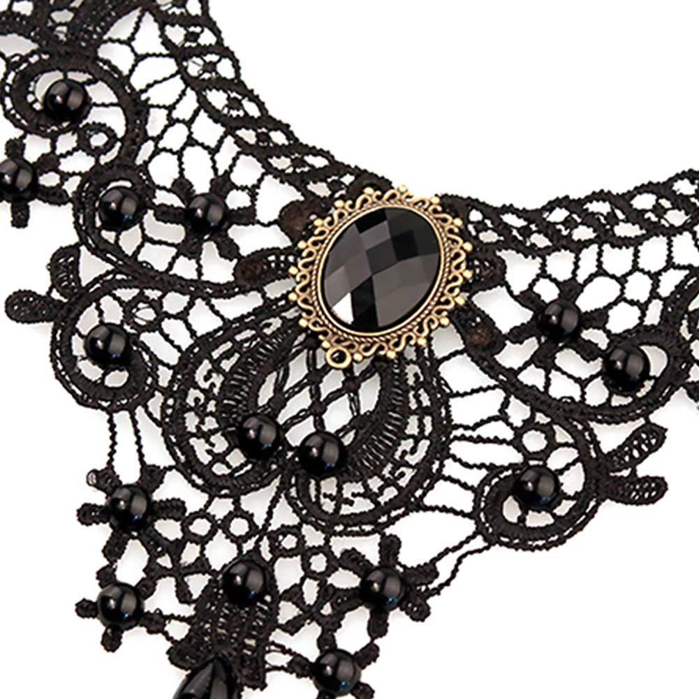 negro gargantilla de encaje Wudi Collar de perlas de encaje de fiesta de encaje negro gargantilla cuentas cadena pulsera de collar para las mujeres