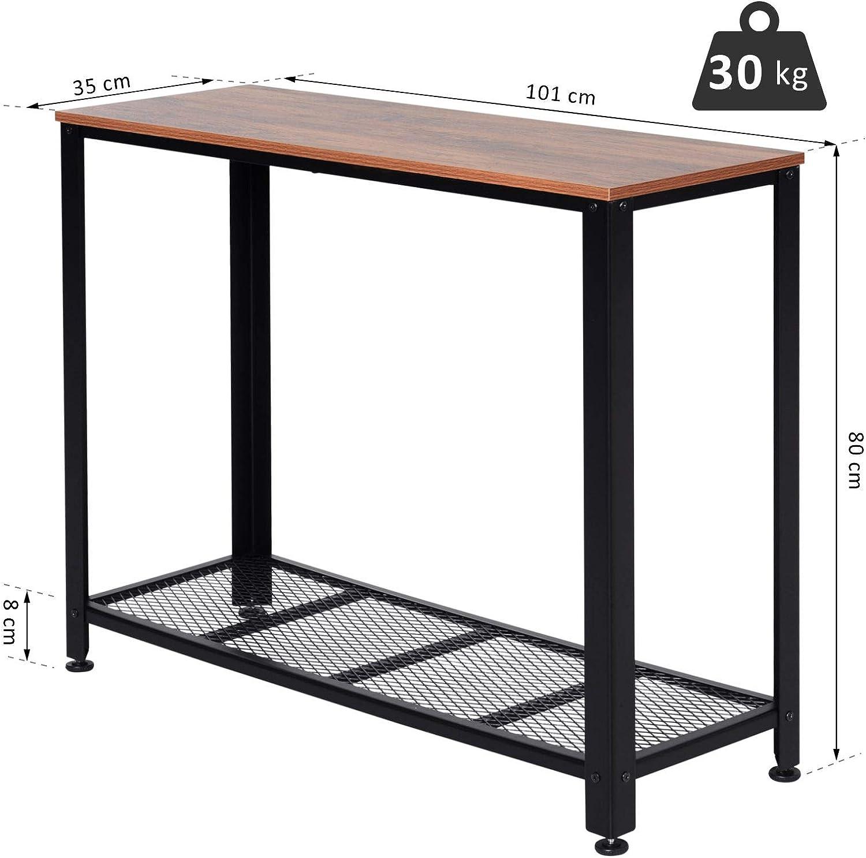 HOMCOM Konsolentisch Sideboard Beistelltisch mit Gitterablage Industrie-Stil Metall 101 x 35 x 80 cm