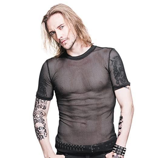 4f0f03222b0 Punk Men s See Through Tee Top Fishnet Mesh Clubwear Short Sleeve T-Shirt  Undershirts (