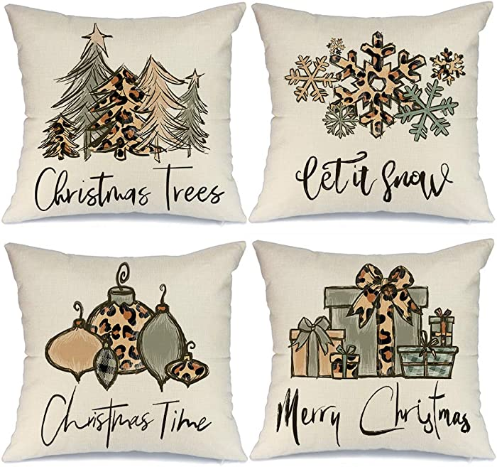 AENEY Christmas Pillow Covers 18x18 Set of 4, Leopard Christmas Tree Ornaments Rustic Winter Holiday Throw Pillows Farmhouse Christmas Decor for Home, Xmas Decorations Cushion Cases for Couch A309-18