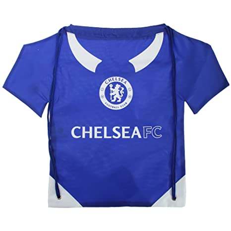 Chelsea FC Official Football Shirt Shaped Drawstring Gym Bag (One Size) (Blue/