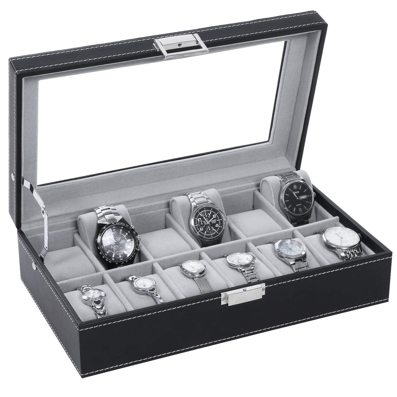 Watch Box 12 Slot Watch Display Storage Case for Men Women Watch Organizer with Metal Hinge - Large Glass Top - Velvet Pillows - Black PU Leather SSH03B