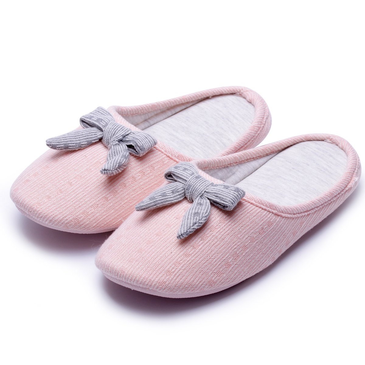Knitted Slippers with Bow| Cute Cozy Women Slippers | Comfort House Slippers | SliponIndoor Shoes | Memory Foam Anti-Slip Sole (6.5-7.5, Pink Bow)