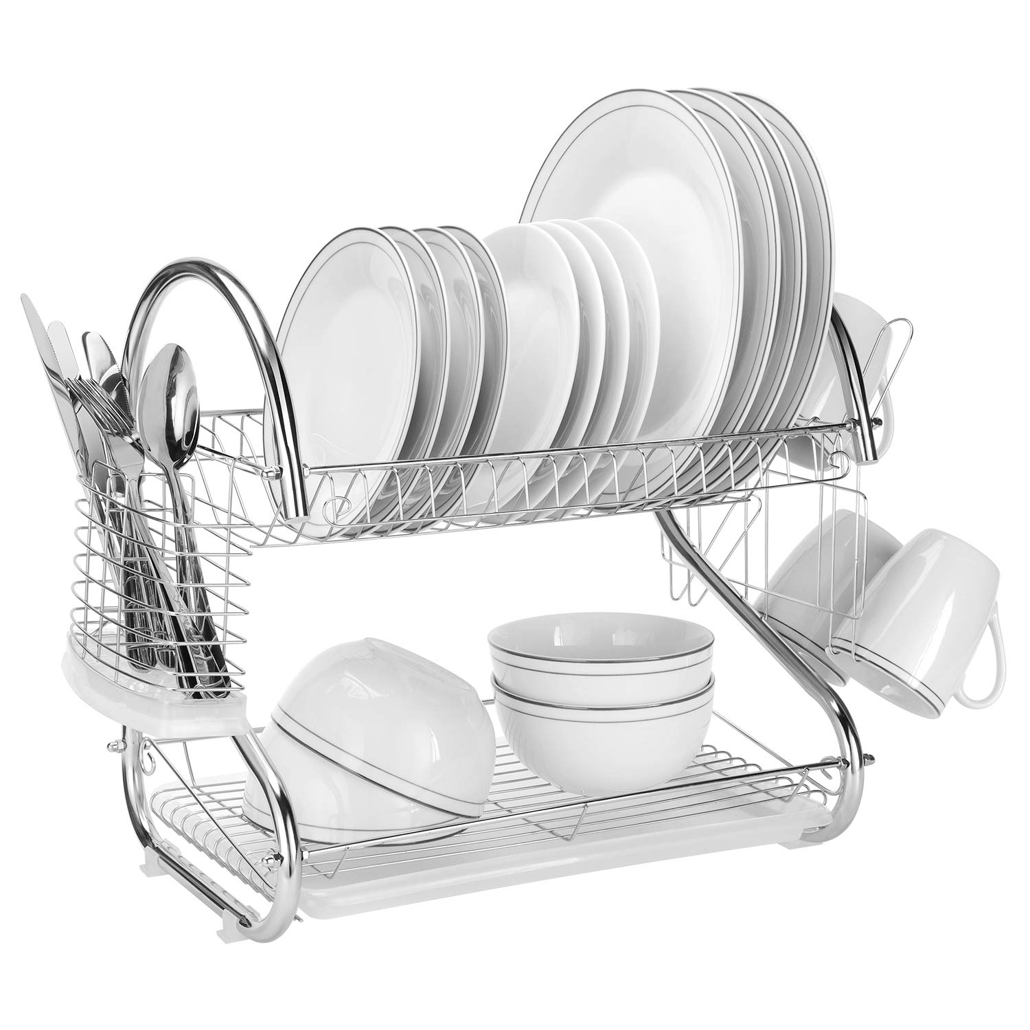 SortWise ® S-Shaped 2-Tier Multi-Function Stainless Steel Dish Drying Rack with Drainboard, Removeable Cup Drainer Strainer & Cultery Holder for Forks or Knives
