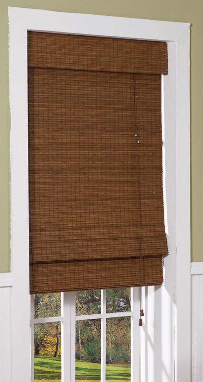 amazoncom radiance cape cod bamboo roman shade with valence 23inch wide by 72inch long maple home u0026 kitchen