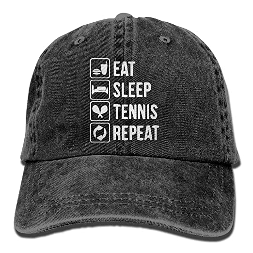 Amazon.com  Unisex Baseball Cap Eat Sleep Tennis Repeat Adjustable Jean Dad Hat  for Men  Clothing 83d963fcf3cf