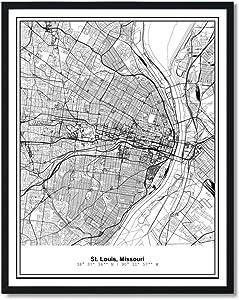 Susie Arts 11X14 Unframed St Louis Missouri Metropolitan City View Abstract Street Map Art Print Poster Wall Decor V297