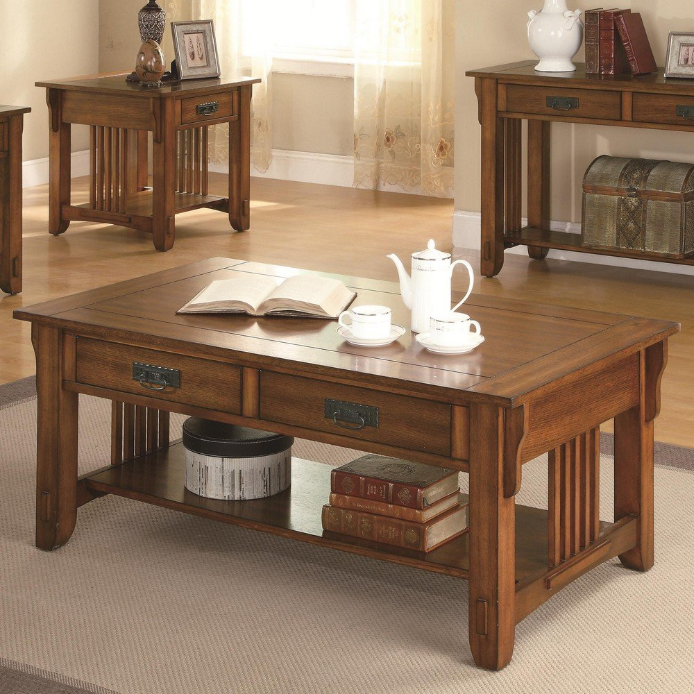 Amazon.com: Coaster 2 Drawer Coffee Table With Shelf, Warm Brown: Kitchen U0026  Dining