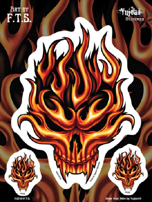 FLAME SKULL DECAL WITH BONUS MINI DECAL