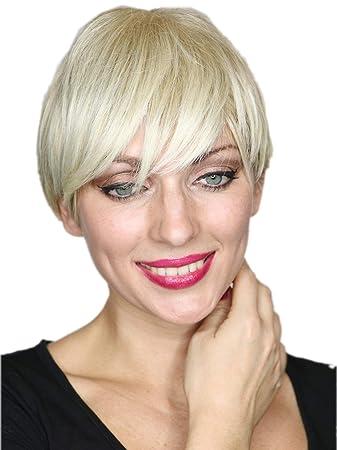 Prettyland Hell Blond Kurz Haar Perücke Unisex Damen Herren Stufen