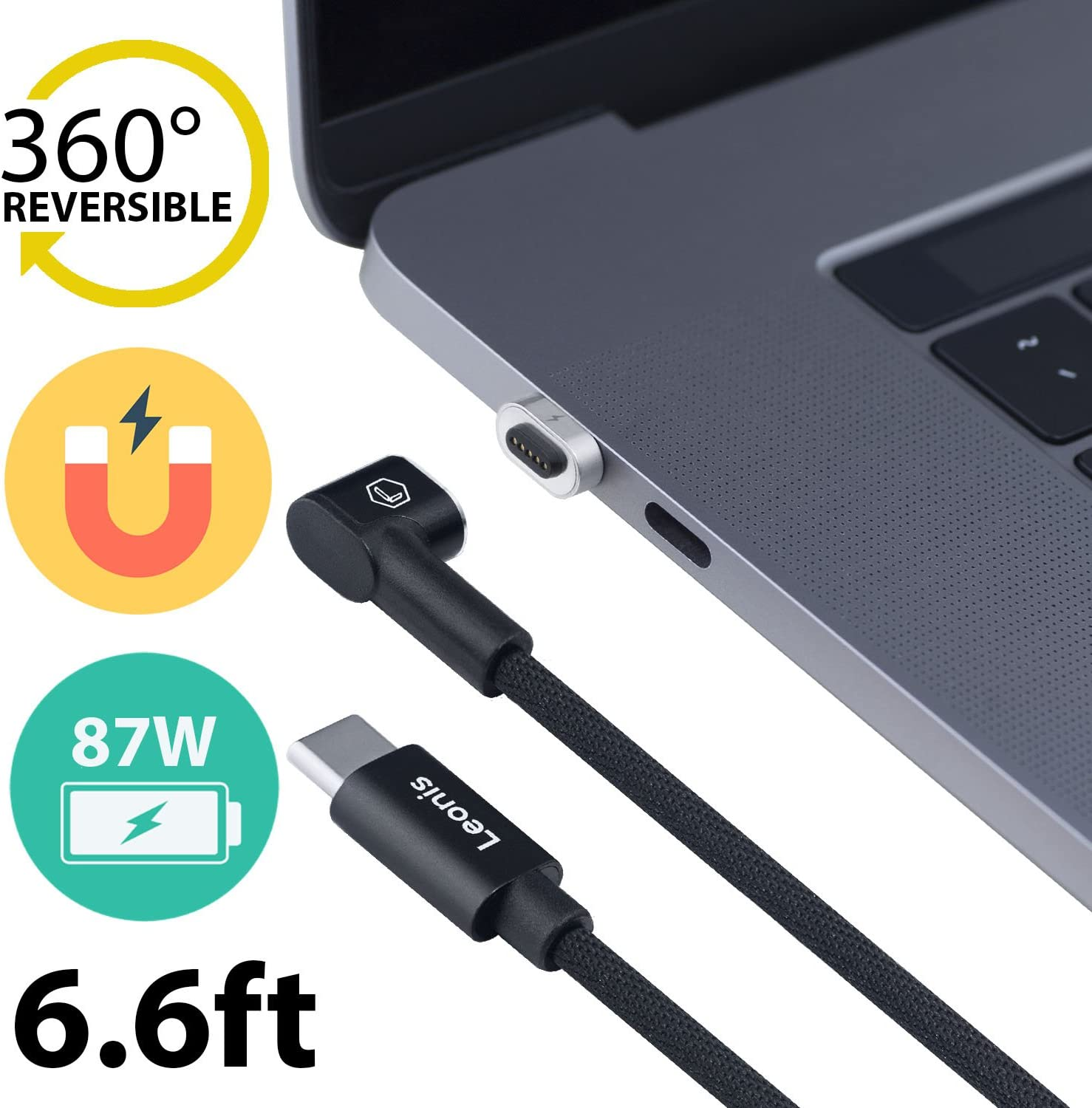 Leonis USB-C Magnetic Charger Charging Cable Replacement for USB-C to MagSafe Adapter Compatible with MacBook Pro and New MacBook Air New іРad Pro and Other USB-Type-C Laptops and Smartphones (Black)
