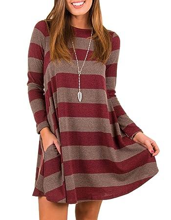 379556405bd5 Amazon.com  Women s Long Sleeve Striped Tunic Tops For Leggings ...