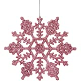 Northlight Club Pack of 24 Mauve Pink Glitter Snowflake Christmas Ornaments 4""