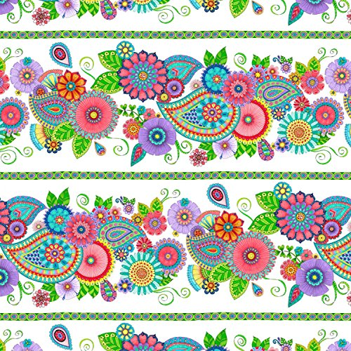Paisley Angel (1 Yard Night Bright Multi Bright Stripe by Hello Angel from Wilmington Prints Cotton Quilt Fabric 77602-147 Paisley)