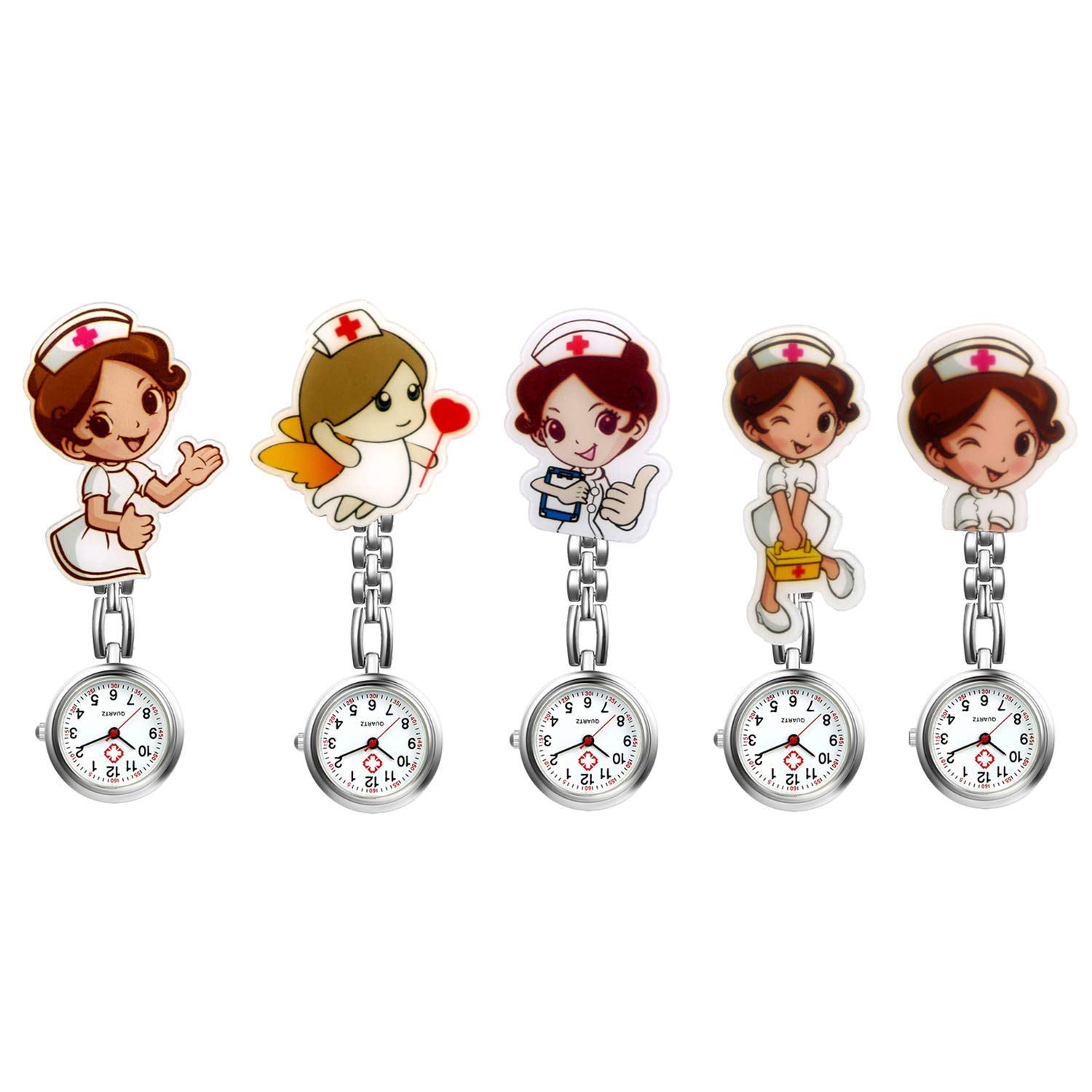 Avaner Pack of 5 Nurse Watch Health Care Nurse Doctor Paramedic Medical Brooch Fob Watch Brooch Metal Case with Pin/Clip by Avaner
