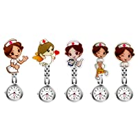 Nurse Watches Cute Cartoon Design Clip-on Fob Watches Analog Quartz Hanging Lapel Watches for Women (5 Pcs)