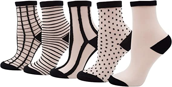 Black Dots Pattern 20 den Women Girl Luxury Design Socks Spring Feet Decoration