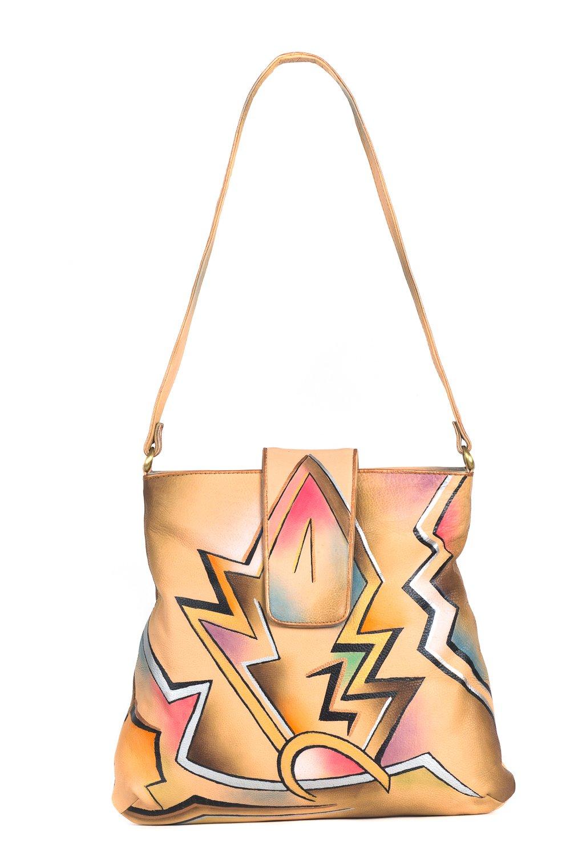 ZIMBELMANN APRIL Genuine Nappa Leather Hand-painted Hobo Shoulder Bag