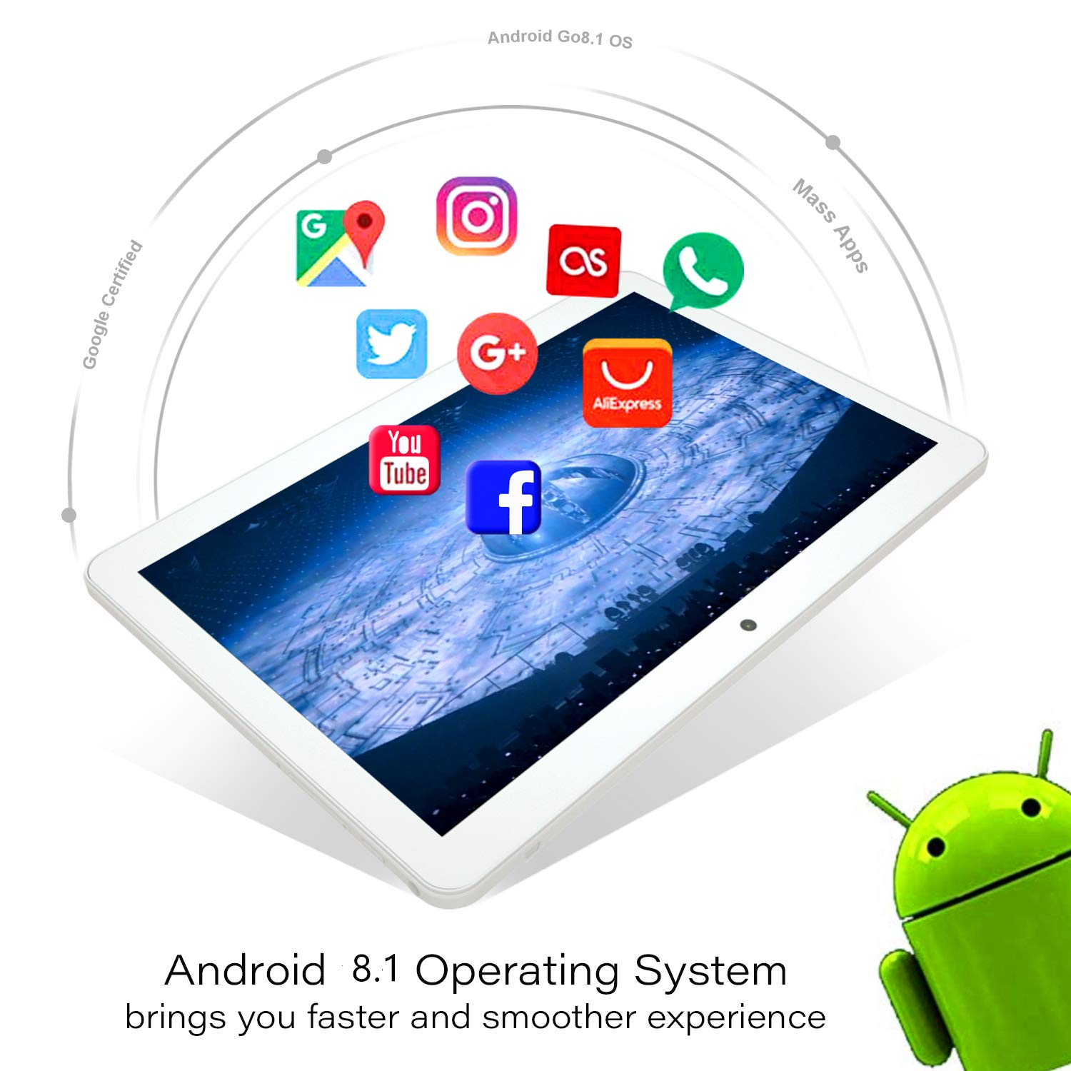 Amazon.com: Tablet 10.1 Inch, Android 8.1 Tablet PC, 3G ...