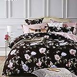 TIFFICO Queen Duvet Cover Set - 3pc Dark Black Floral Leaf Rural Vintage Flower Microfiber Soft Down Duvet Quilt Bedding…